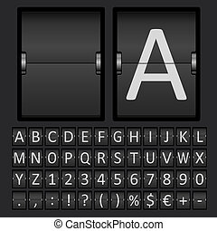 Scoreboard Letters and Numbers Alphabet - Vector Scoreboard...