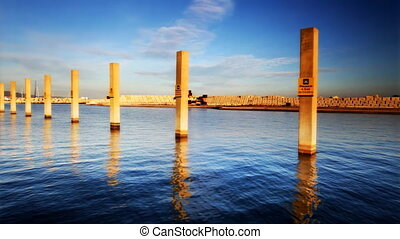 the el forum part of barcelona, with relfection of posts in...