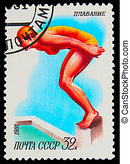 USSR - CIRCA 1981: A stamp printed in USSR, swimming,...