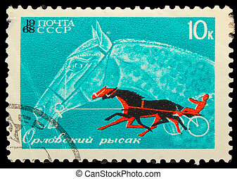 USSR - CIRCA 1968: A stamp printed in USSR, horseback riding, equestrian sport, Orlov trotter horse, circa 1968