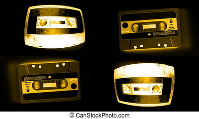 Stop motion of a collection of cool cassette tapes
