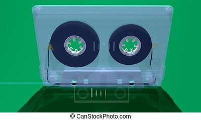 a cassette tape build in 3d moving