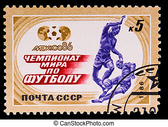 USSR - CIRCA 1986: A post stamp printed USSR, World Cup 1986 Mexico Soccer, circa 1986