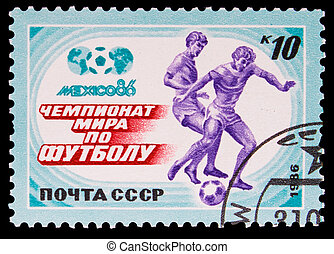 USSR - CIRCA 1986: A post stamp printed USSR, World Cup in 1986 Mexico Soccer, circa 1986