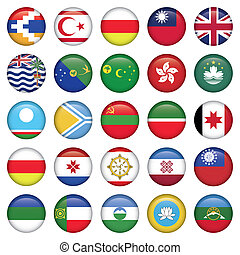 Asiatic Round Flags, Zip includes 300 dpi JPG, Illustrator...