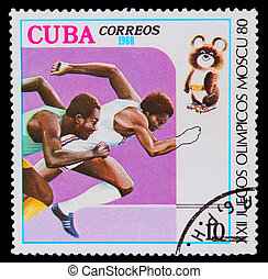 CUBA - CIRCA 1980: A stamp printed in CUBA, two athletes running Negro competition, circa 1980