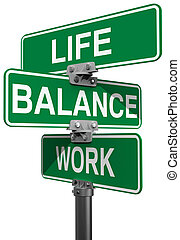 Work Life or Balance street signs - Signs choose between...