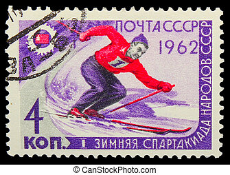 USSR - CIRCA 1962: A stamp printed in USSR, first winter...
