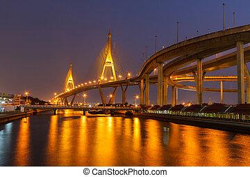 Bhumibol Bridge night of bangkok
