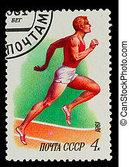 USSR - CIRCA 1981: A stamp printed in USSR, Running...