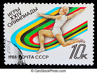 USSR - CIRCA 1988: A post stamp printed USSR, track and...