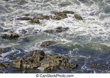 Volcanic Ocean Turbulence - Turbulent ocean waters filled...