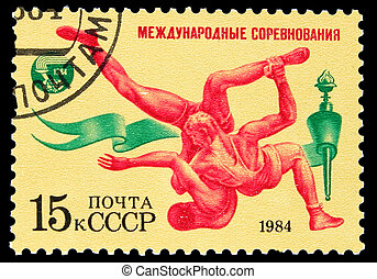 USSR - CIRCA 1984: A stamp printed in USSR, international...