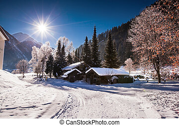 mountain cabin - snow covered mountain cabin