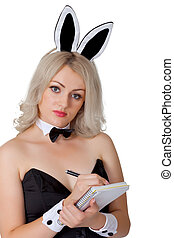 Waitress in bunny suit records your order
