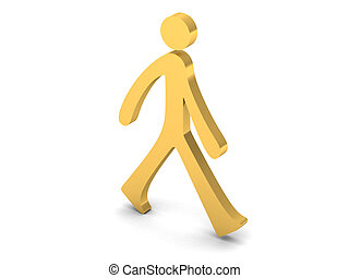 3D person walking - View of a 3D person walking