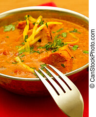 Indian food - Indian curry on a red napkin