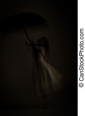 young woman - artful image of a young woman in a white dress...