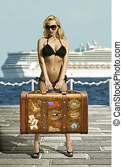 sexy woman with vintage bag - sexy woman ready to travel...