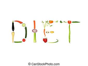 Diet - Vegetable selection spelling the words diet food,...