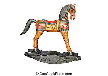 Vintage rocking horse isolated on white background