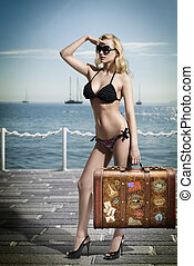 sexy blonde tourist with vintage bag - sexy woman tourist...