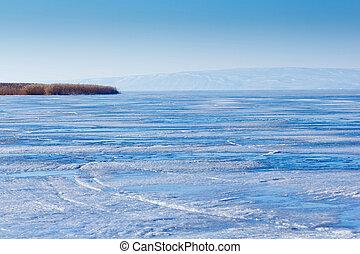 Volga River winter ice landscape Russia - winter Volga River...