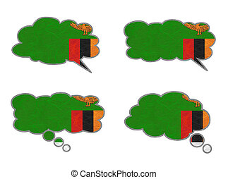 Dialog box recycled paper - Zambia Flag. Dialog box recycled...