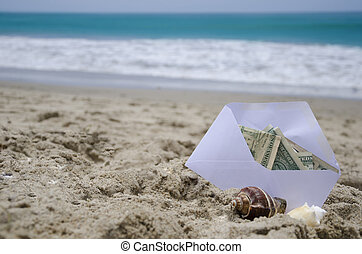 Money for vacation - White Envelop with money for vacation...