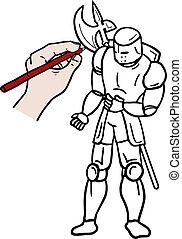 Draw warrior - Creative design of draw warrior