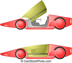 Red future car - Creative design of red future car