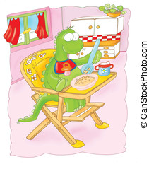 Dragon baby in High Chair