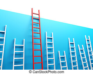 Highest Ladder - 3d render illustration of several ladders...