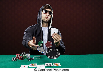Poker Player - Poker player, on a red background, throwing...