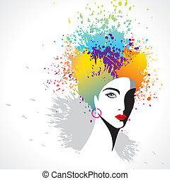 beautiful girl with colorful hair