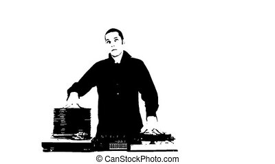 stopmotion animation of dj with piles of records growing and...