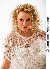 blondin, kvinna