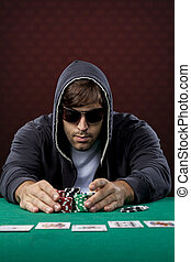 Poker Player - Poker player, on a red background, going all...