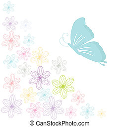 Floral card with butterflies