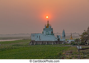 Mandalay - Buddhist temple near U bein bridge, Amarapura,...