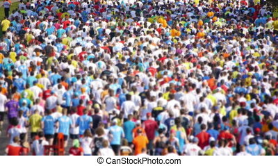 HD - City Marathon. Crowd of people
