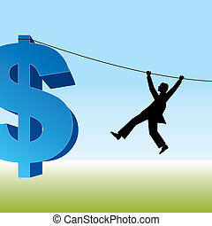 man with rope and a dollar sign - vector image of man with...