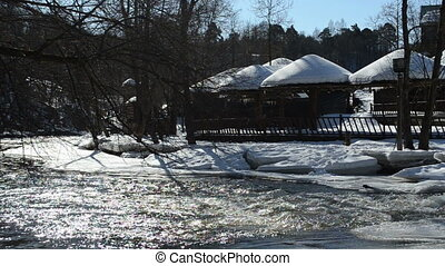 summer house winter river - summer recreational houses...