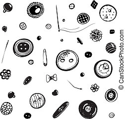 Buttons and Needles Set Ink Drawing - Vintage buttons in...
