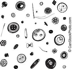 Botões, agulhas, jogo, tinta, desenho