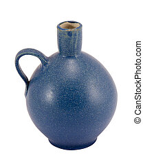 blue ceramic vase round handle small hole isolated - blue...