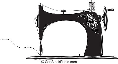 Vintage Sewing Machine Inky Illustration - Black ink old...