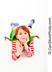 little girl with braids - little girl dressed up as Pippi...