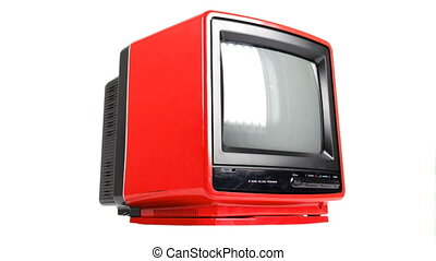 Stop motion of a fantastic retro red television spinning around abstract with blank screen