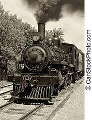 Old locomotive sepia - Image of an old locomotive done in...